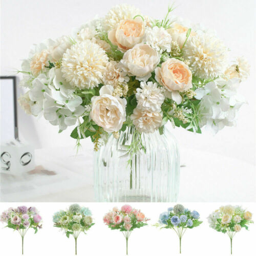 Home Decoration - Silk Peony Artificial Fake Flowers Bunch Bouquet Home Wedding Party Decoration