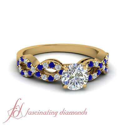 .80 Ct Round Cut Diamond Infinity Womens Gold Wedding Ring Sets GIA Certified