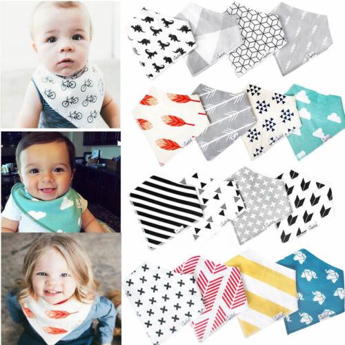 4pcs Cotton Baby Boy Girls Bandana Bibs Saliva Towel Dribble Triangle Head Scarf
