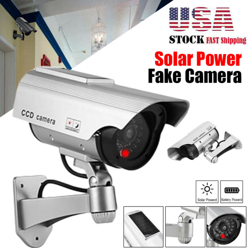 Solar Power Bullet Fake Dummy Surveillance Security Camera w/ Led In/Outdoor USA