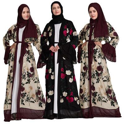 Floral Abaya Dubai Kimono Kaftan Jilbab Muslim Women Long Maxi Dress Islam Robe