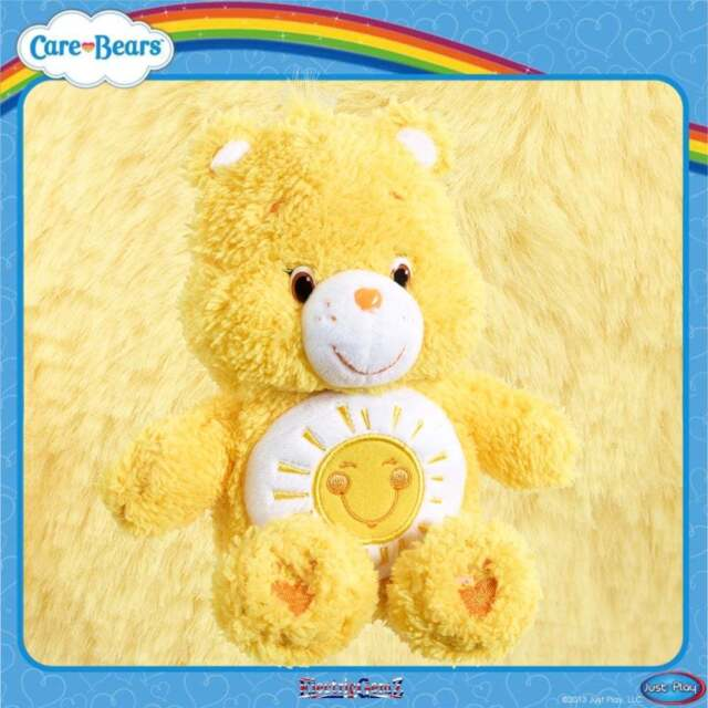 Care Bears Fluffy Friends 8in Beanie Plush Soft Collectable Toy - Funshine Bear