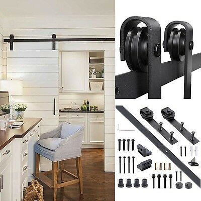 6 FT Steel Sliding Barn Wood Door Hardware Track Set Kit Black Antique Style