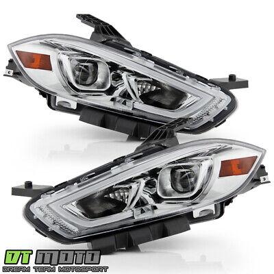 2013-2016 Dodge Dart Halogen Type Chrome LED Tube Projector Headlights Headlamps