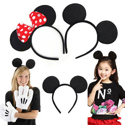 Minnie Mouse Ears Headband Black Red Polka Dot Bow Party Favors Costume Mickey](Red Polka Dot Minnie Mouse Party Supplies)