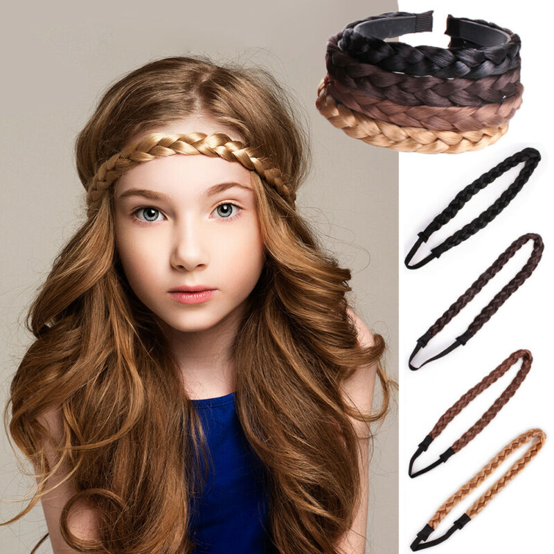 2x Hair Clip Bow Synthetic Extension Plaited Elastic Braided Band Pony Tail