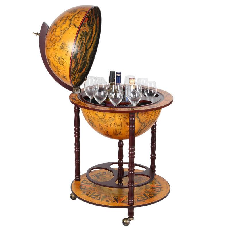 Vintage Home Pub Bar Liquor Whiskey Storage Cabinet Wine Rack Globe Table
