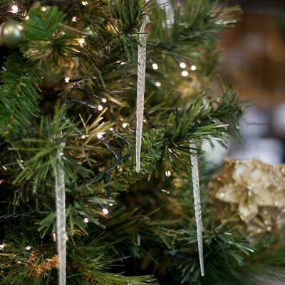 Clear Icicle Hanging Shimmering Christmas Tree Decoration Ornaments Set of 100