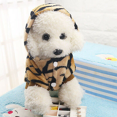 Pet Puppy Small Dog Cat Flannel Leopard Warm Clothes Costume Jacket Hoodie Coat
