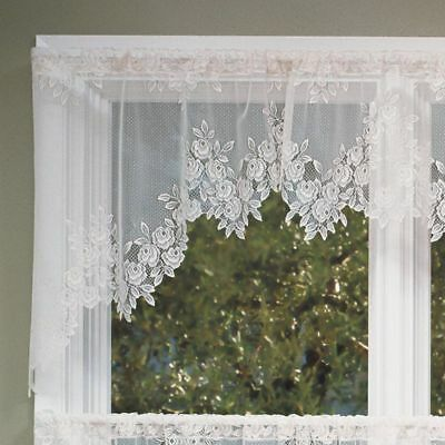 Heritage Lace TEA ROSE Swag Pair 60x30 WHITE Made in USA