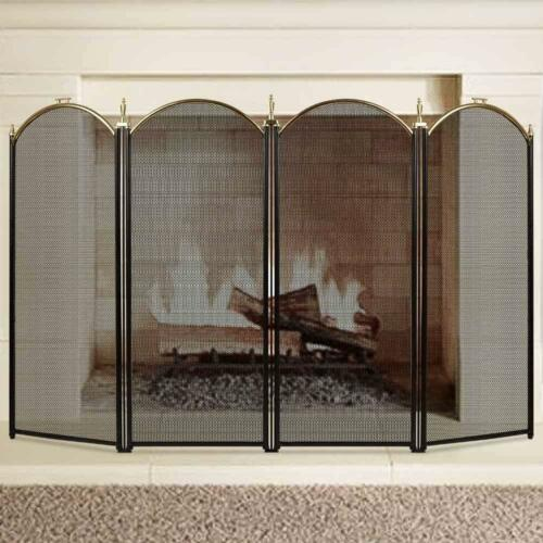 Folding Fireplace Screen 4 Panel Wrought Iron Brass Extendable Mesh Decorative