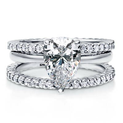 BERRICLE Sterling Silver Pear Cut CZ Solitaire Engagement We