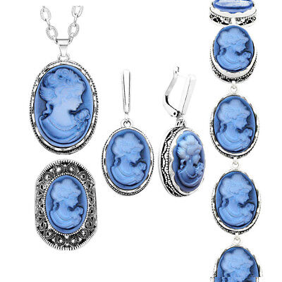 5 Colors Lady Queen Cameo Jewelry Sets  Vintage Look Necklace Fashion Jewelry