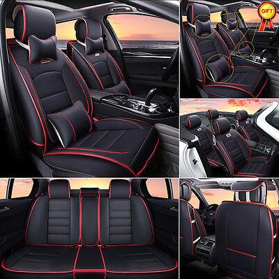 Us Universal 5 Seats Car Suv Sedan Leather Seat Cover Luxury Cushions W Pillows