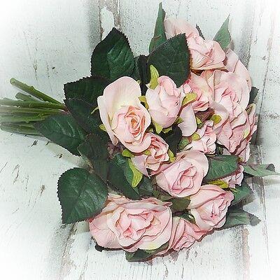 Rosen Strauß 27 cm rosa- künstliche Blumen Blume Kunstblumen Kunstblume (Strauß Seidenblumen)