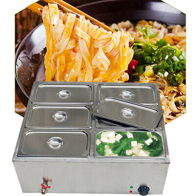 6-pan Bain-marie Buffet Countertop Food Warmer Steam Table Bath Warmer 850w