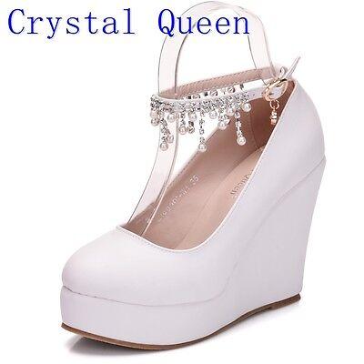 Crystal white Queen High Heel Ankle Strap Platform Wedge shoes Women Pump Wedge  Crystal High Heel