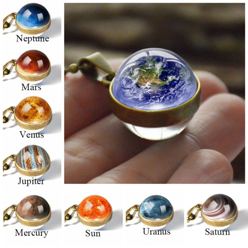 Long Chain Solar System Galaxy Necklace Planet Pendant Doubl