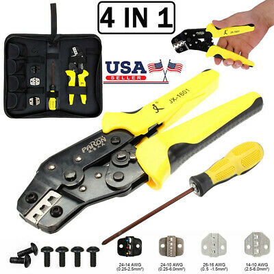 Ratcheting Crimping Tool Set Wire Crimper Plier Terminal Wire Connectors 3 Dies