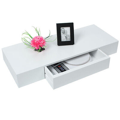 60cm White Floating Drawer Shelf Storage Display Shelving Bookshelf CD DVD