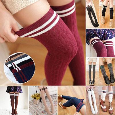 Women Knit Cotton Over The Knee Long Socks Striped Thigh High Stocking Socks US - Striped Thigh High Socks