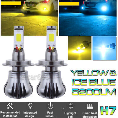 2X H7 Upgrade LED Fog Light Bulbs Dual Color Still / Flash Mode Amber + Ice (Best Cheap Led Projector)