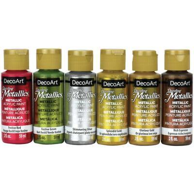 DecoArt DAZZLING METALLIC 6 pc Acrylic Paint Set 2 oz Bottles Gold Silver Green 2 Oz Dazzling Metallic Paint