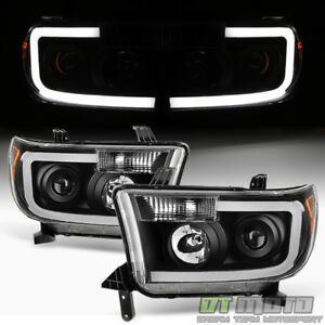 For Black 07-13 Toyota Tundra 08-17 Sequoia [SMD OPTIC] LED Projector Headlights