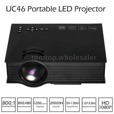 UC46 Multimedia 1200Lumen WiFi Wireless HD 1080P Projector Home Theater HD VGA