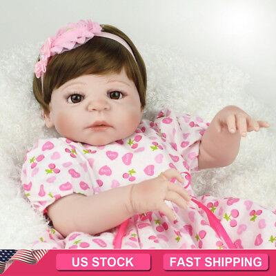 Full Vinyl Silicone Reborn Baby Dolls Life Like Newborn Babies Girl Doll Toy 22