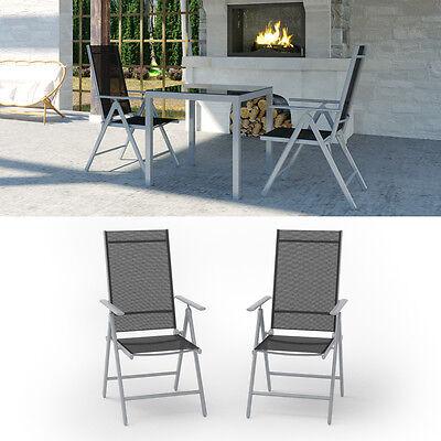 Liegestuhl-set (2er Set Alu Gartenstuhl Klappstuhl Hochlehner Campingstuhl Aluminium Liegestuhl)