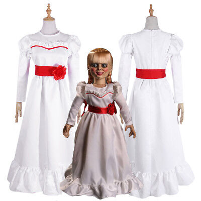 The Conjuring Doll Annabelle Halloween Horror Fancy White Dress Cosplay Costume (Annabelle Doll Costume)