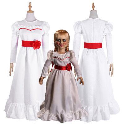The Conjuring Doll Annabelle Halloween Horror Fancy White Dress Cosplay Costume (Halloween Annabelle Kostüm)