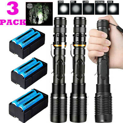 990000Lumens Tactical Police LED Flashlight T6 Torch Zoomable Light Rechargeable
