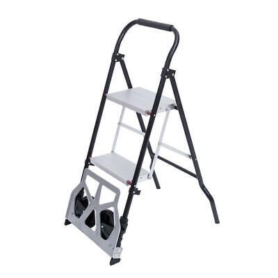 2 In 1 Multifunctional 3-step Ladder Hand Truck Trolley Cart Folding W 2 Wheels
