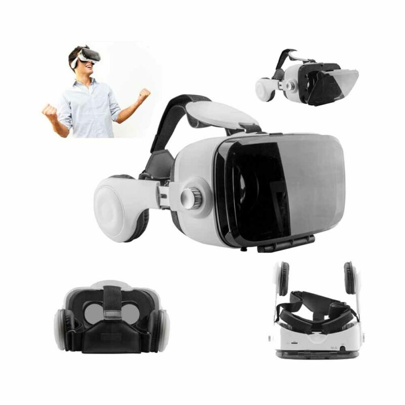 3D Virtual Reality Headset VR Glasses+ Headphones For Smartphone Android iPhone