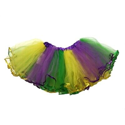 Mardi Gras Tutu (Mardi Gras Tutu Skirt Womens Girls Green Purple Yellow Costume Accessory)