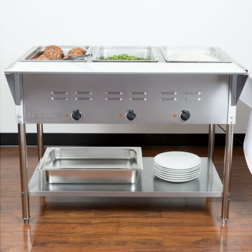 """43"""" 3 Pan Restaurant Electric Steam Table Buffet Food Warmer Commercial 120V NEW"""