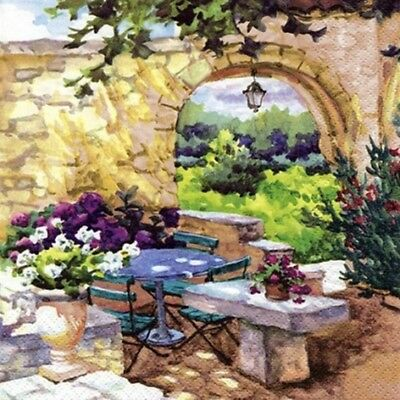 "Napkin/Luncheon - ""Patio Morning in Provence"" - Elegant, 3-ply Paper Napkin"