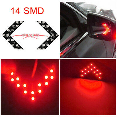 Turn Signal Mirror Lights Arrows (2x Red 14-SMD LED Arrow Lights for Car Side Mirror Turn Signal Blinker)