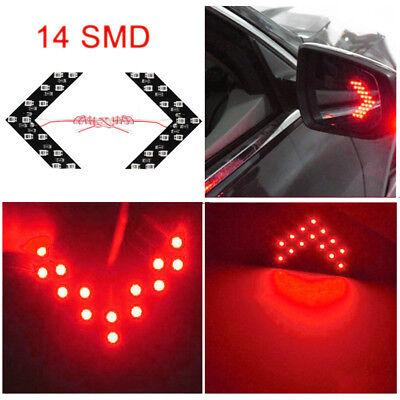 2x Red 14-SMD LED Arrow Lights for Car Side Mirror Turn Signal Blinker (Led Arrow Turn Signal)
