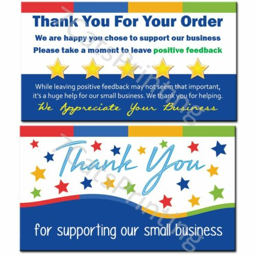 100 eBay Thank You Cards for Supporting Our Small Business Sellers (NEW Wording)
