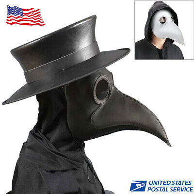Plague Doctor Mask Birds Long Nose Beak Faux Leather Steampunk Halloween Mask
