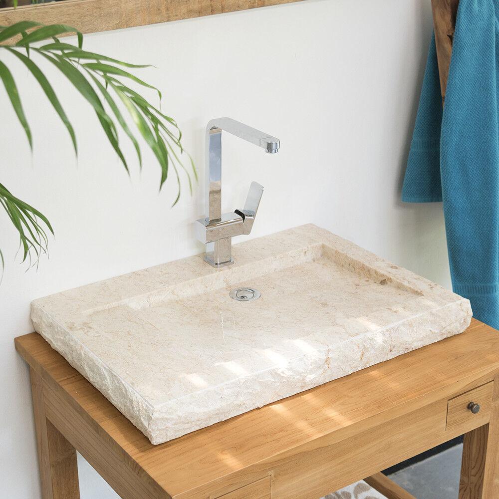 WOHNFREUDEN Marmor Waschbecken Aufsatzbecken flach creme mit Armturenloch 70 cm