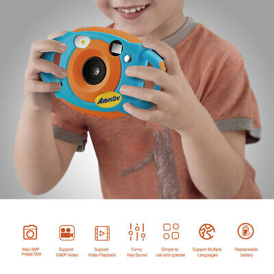 AMKOV 1080P HD 5MP Digital Camera Kids Children Birthday Gift Kinder Kamera A6K7