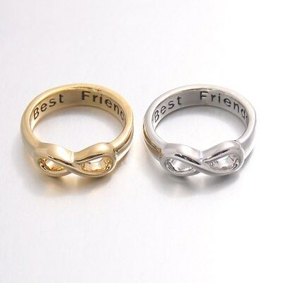 Shiny Polished Best Friends Engraved Friendship Infinity Forever Love Band (Infinity Ring Engraved Best Friends)