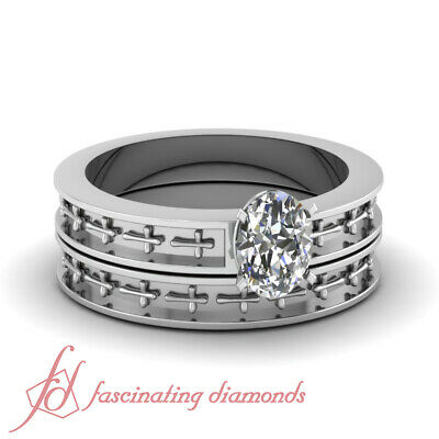 Solitaire Wedding Rings Set 1/2 Carat Oval Shaped Cut:Very Good Diamond VS1 GIA