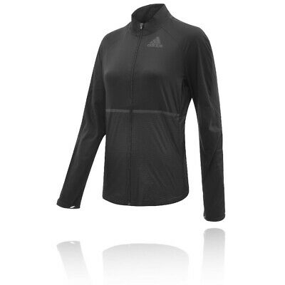 adidas Womens Adizero Track Jacket Top Black Sports Running Full Zip Breathable