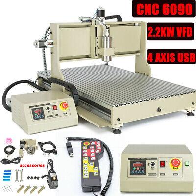 4axis Usb 6090 Cnc Router Engraver 3d Millingengraving Machinehandwheel 2200w