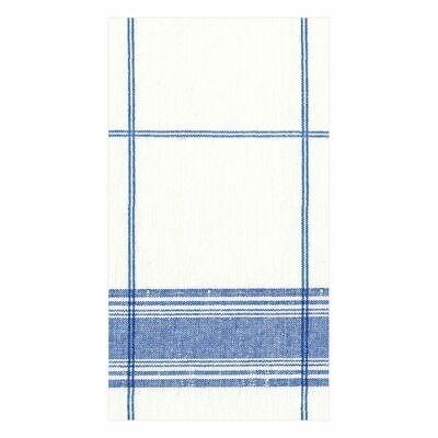 Caspari Belgian Blue Plaid Paper Linen Guest Towel Napkins - 2 × 12 packs - Plaid Paper Napkins